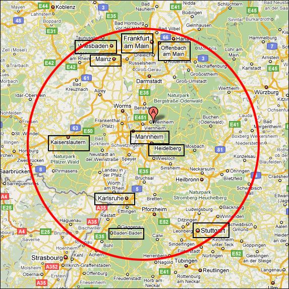 Karlsruhe Karte Umgebung.Mein Standort Frankfurt Mannheim Karlsruhe Stuttgart Und
